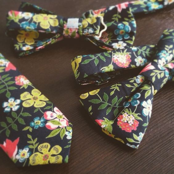Floral Liberty of London Edenham print bow ties and necktie, 'ALFRED' from LV Made in England