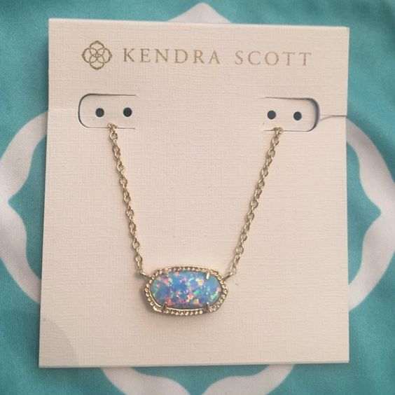 Kendra Scott Blue Opal and good Elisa necklace NWT gorgeous Blue Opal and gold…