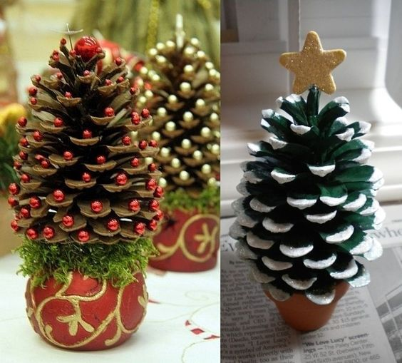 Wonderful Pine Cone Christmas Trees for You to Craft  - http://www.amazinginteriordesign.com/wonderful-pine-cone-christmas-trees-craft/