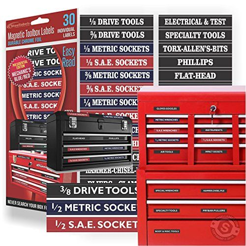 Magnetic Tool Box Organizer Labels Blue Edition Organize Boxes Drawers Cabinets Quick Easy Fits All Bra Tool Box Organization Tool Chest Tool Steel
