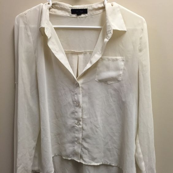 sheer button down blouse beautiful cream colored sheer