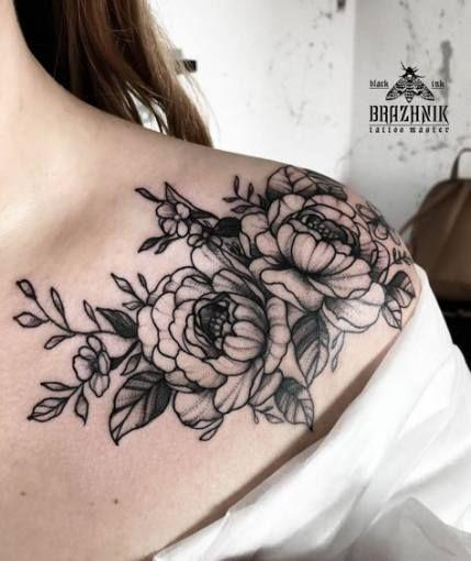 25 Ideas Womens Tattoos Shoulder Peonies Shoulder Tattoo Floral Tattoo Shoulder Shoulder Piece Tattoo