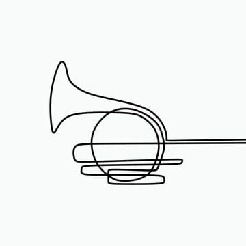 One Line Art Of French Horn Minimalist Drawing Isolated On White Background Vector Illustration Horn One Line Png And Vector With Transparent Background For Minimalist Drawing Horns Graphic Minimalism