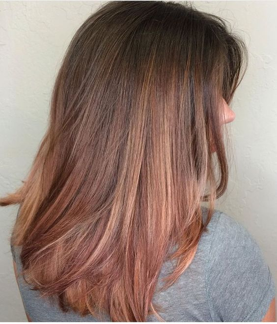 Rose gold with brown hair