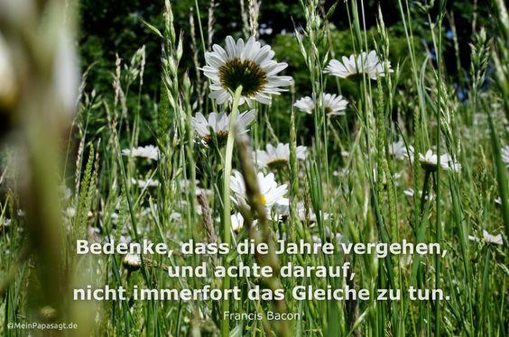 Mein Papa sagt... Bedenke, dass die Jahre vergehen,und achte darauf,nicht immerfort das Gleiche zu tun.Francis Bacon  #Zitate #deutsch #quotes      Weisheiten & Zitate TÄGLICH NEU auf www.MeinPapasagt.de