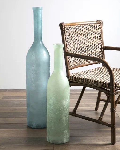 Oceanic Light Aqua Blue Sea Green Glass Vases Floor Vase Decor