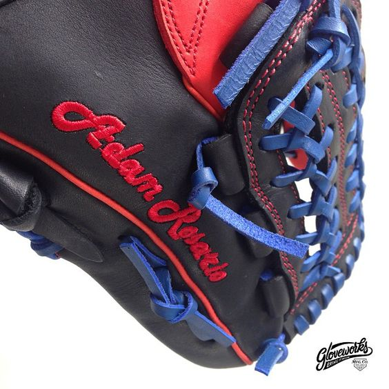 +++++ GLOVEWORKS x ROSARIO +++++  @ Design by Adam Rosario, a.k.a. R. R. R.   @ Pro Steerhide glove in Red & Black color combo   @ Text embroideries on thumb   @ this glove is all about passion & strength. Yes, this boy is all about baseball   More details to come. Stay connected!   #baseball #baseballglove #customglove #gloveworks