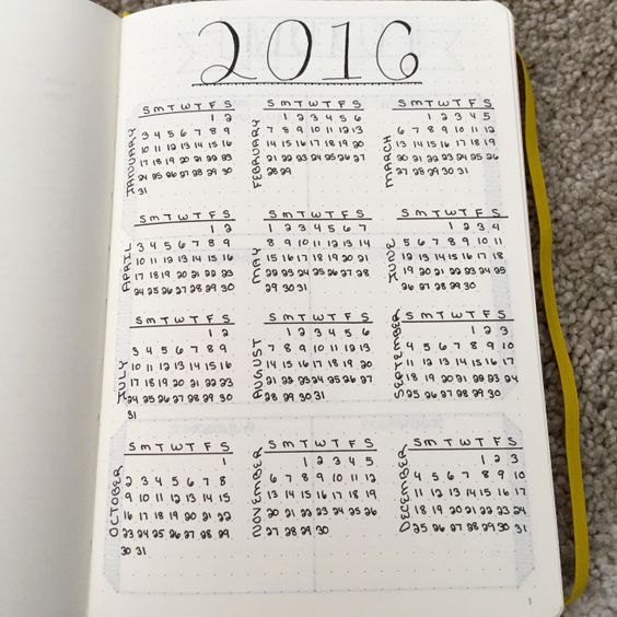 bullet journal yearly calendar