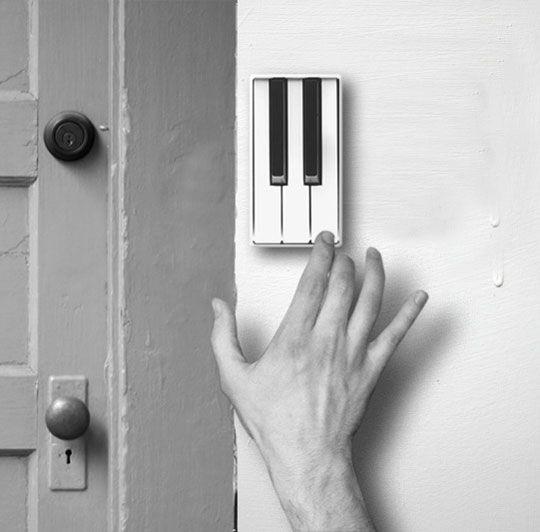Piano Doorbell   http://newniceandfun.tumblr.com/post/28115534126/piano-doorbell-concept-by-li-jianye