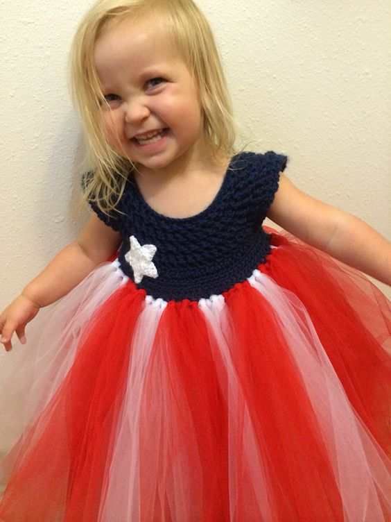 Hand crocheted tutu top flag dress