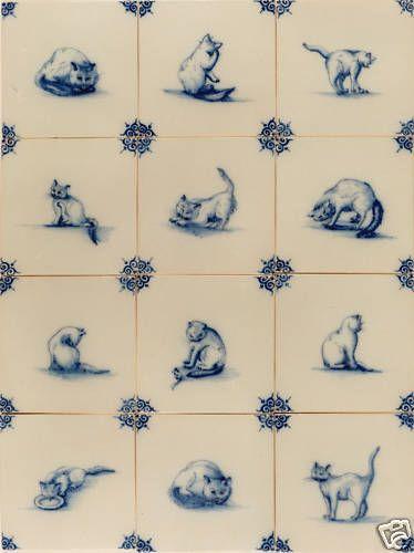 """Harlinger Fliesen, Delfter Kacheln Art, S-07 Katzen,blau/weiß, Delft Fliesen Это красиво окрашенные плитки с """"Кошки"""" и """"Ochsenkopf"""" угловых мотивов имеют традиционный синий / белый цветовой гамме, гарантированное ручной росписью в оригинальной голландской традиционной майолики или фаянса. Красивые мотивы частично после оригиналов с 17-го века. Эти плитки, как 400 лет назад вручную Размеры: длина х ширина примерно 13 х 13 см, толщина 7-8 мм Вес: 230-250 г / шт"""