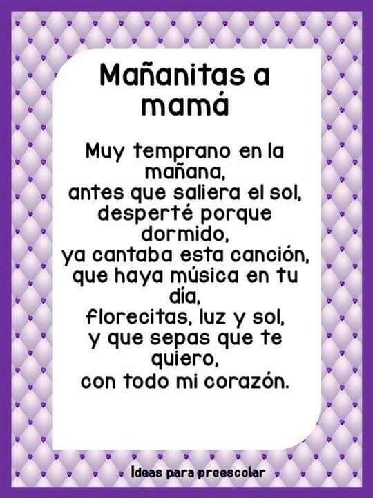 Poemas Canciones Para El Dia De La Madre Para Niños Dia De Las Madres Con Imagenes Dia De Las Madres
