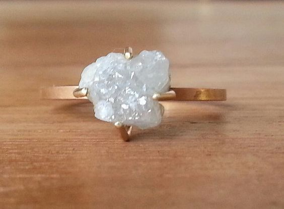 OK!! Yess this is my most favorite of all!! 3.95 ct white rough diamond ring- 14 k yellow gold white rough diamond ring.