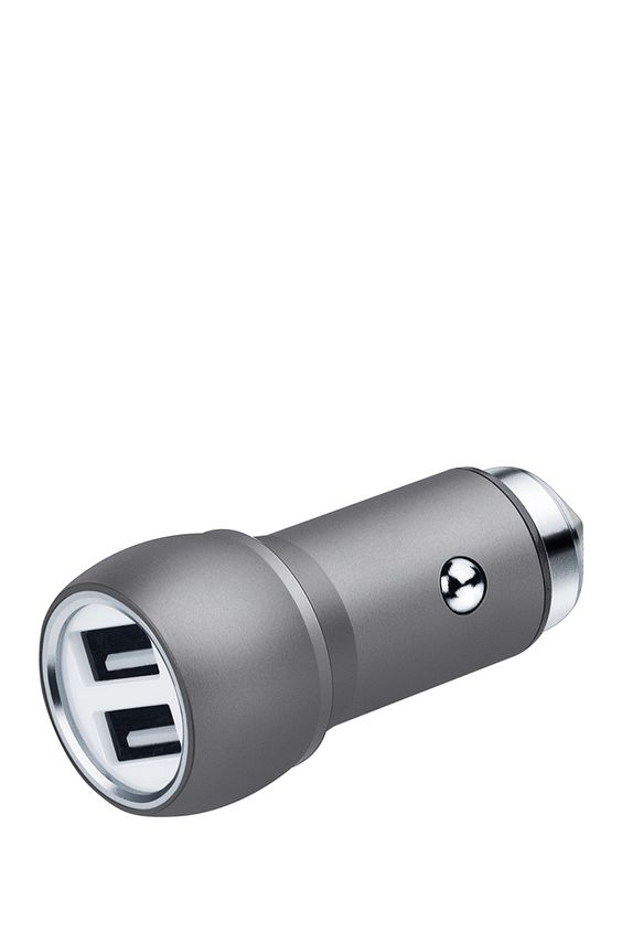 Silver 2-Port Charger & Woven USB Cord Set