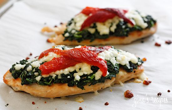 Skinny Grilled Chicken with Spinach and Melted Mozzarella