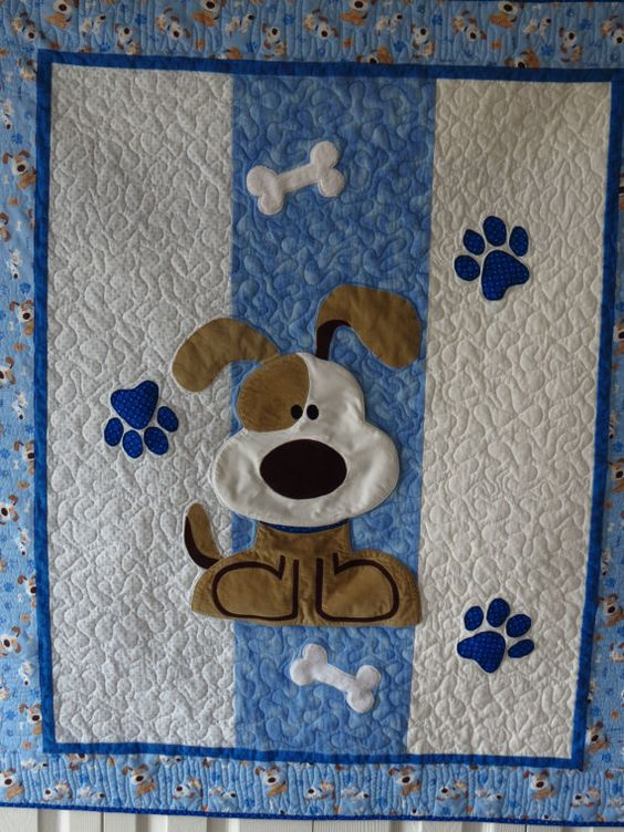 Puppy Dog Quilt for Baby or Toddler with Applique Dog, Paw Prints and Bones in Blues, White and Tans: