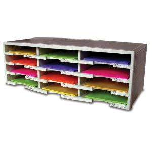 12-Compartment Paper Organizer. Use for mail, school papers, coupons, bills: eliminate paper piles!