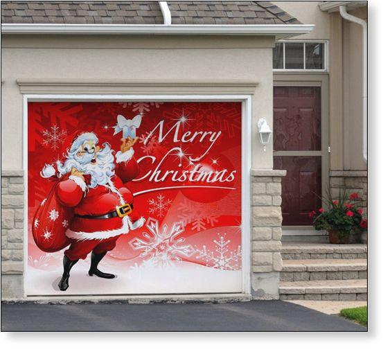 Garage Door Decor Santas Merry Christmas (1car