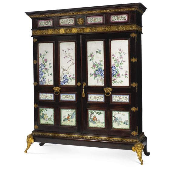 A French Chinoiserie style gilt-bronze and Chinese famille rose porcelain mounted rosewood cabinet Paris, circa 1895, most porcelain plaques circa 1865-1870 -