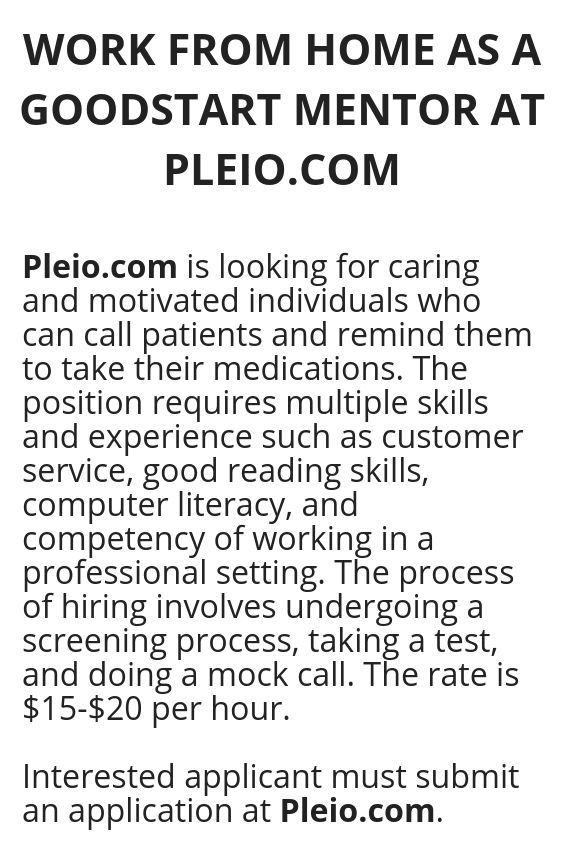 Work From Home As A Goodstart Mentor At Pleio Com Legit Work
