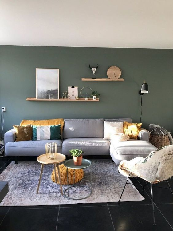 Moody Darkish Inexperienced Accent Wall Concepts In 2021 Living Room Green Green Walls Living Room Colourful Living Room