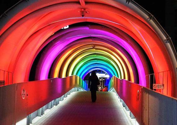 odaiba rainbow bridge, lights