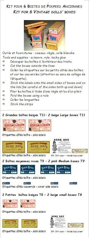 Etiquettes et notice pour monter les boîtes de poupées anciennes Labels and notice to make the vintage doll boxes - EDEN BRU BEBE SOLEIL - Creation VM