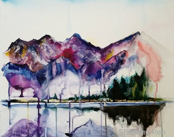 Colorful Original Watercolor abstract mountains landscape on Canvas