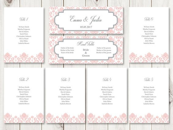 Printable seating chart template Floral Damask in rose quartz - color chart template