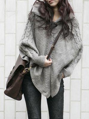 Poncho-suéter  alas de murciélago  -  Batwing poncho sweater: