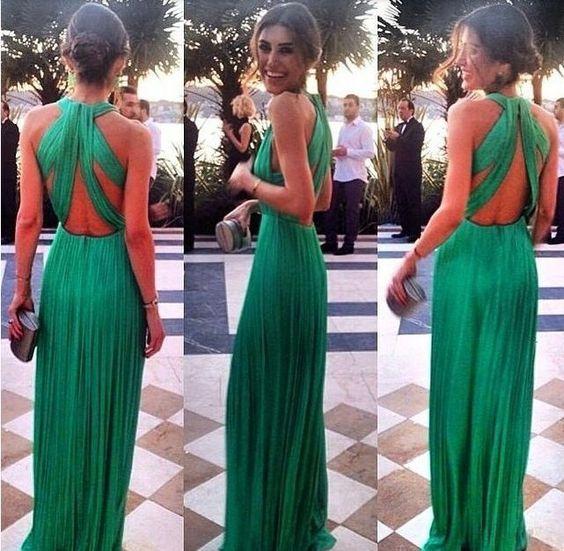 Elegante vestito abito lungo verde Elegant long green dress backless