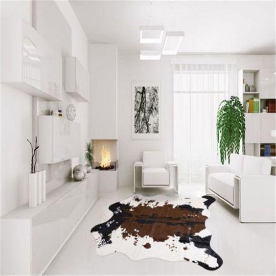 20 Cozy Homes With Cow Hide Rugs Interiordesignshome Com Cow Hide Rug Cow Skin Carpet Rug Decor