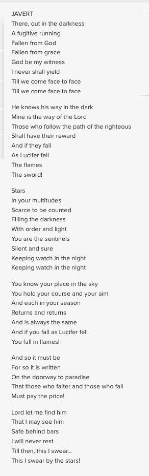 Les Miserable film 2012. Stars sung by Javert.