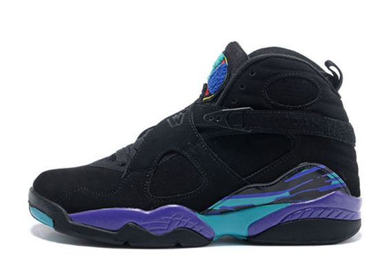 Authentic Air Jordan 8 Retro Black Dark Concord-Anthracite-Aqua Tone For Sale