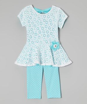 White & Blue Floral Tunic & Capri Leggings - Girls by Speechless #zulily #zulilyfinds