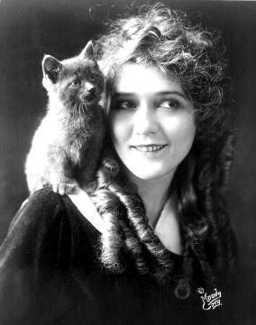 Mary Pickford and feline friend.