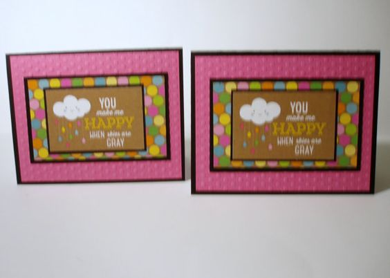 You make me happy everyday handmade cards set of 2 by Pattercrafts