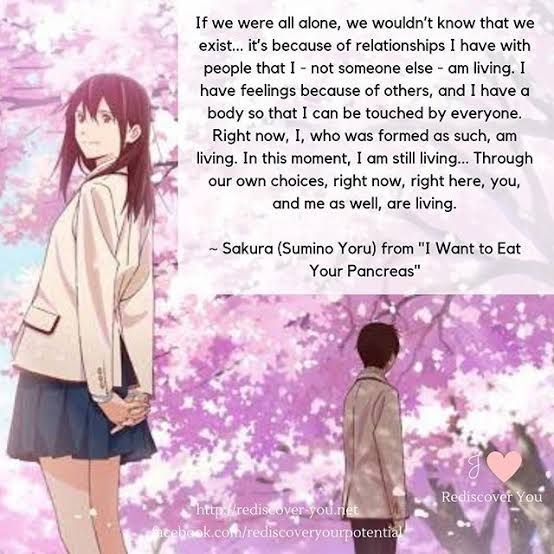 I Am Living Meaningful Quote From I Want To Eat Your Pancreas I Want To Eat Your Pancreas I Want To Eat You Character Quotes
