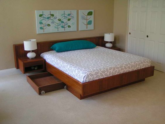 Bedroom floating platform beds with pillow blue the for Floating platform bed with storage