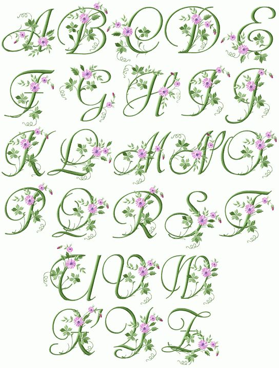 Elegant Floral Initials Machine Embroidery Font 4 X4