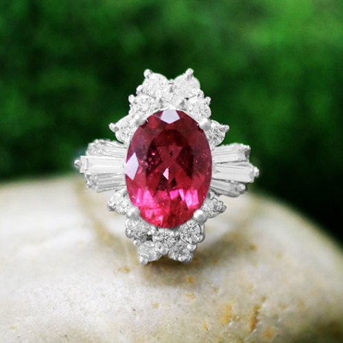 ONE-OF-A-KIND: Rubellite and Diamond Cocktail <Prong> Solid 14K White Gold (14KW) Colored Stone Estate Ring *Fine Jewelry* (Free Shipping)