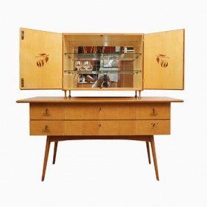 Sideboard mit Barschrank aus Kirschholz, 1950er