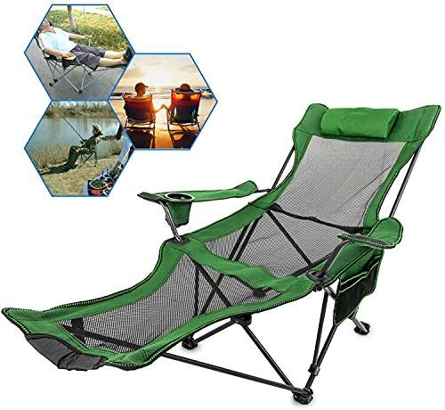 Hwzqhjy Camping Stool Folding Camp Chair With Footrest Mesh Lounge Chair With Cup Holder And In 2020 Camping Chairs Folding Camping Chairs Lounge Chair