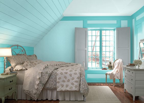 Aqua gray color palette craft room paint colors idea for Aqua blue paint for walls