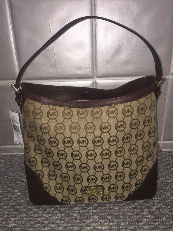 Michael Kors Millbrook Brown Leather Canvas Large Shoulder Tote Bag Purse  #MichaelKors #ShoulderBag