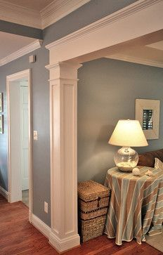 Framing pillar idea for basement theater room home for Dining room designs with pillars