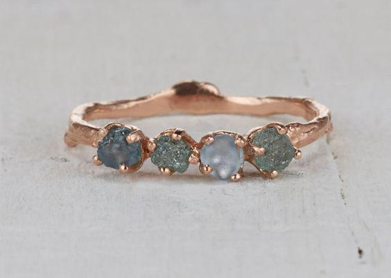 Uncut Montana Sapphire Garland Wedding Ring by OliviaEwingJewelry