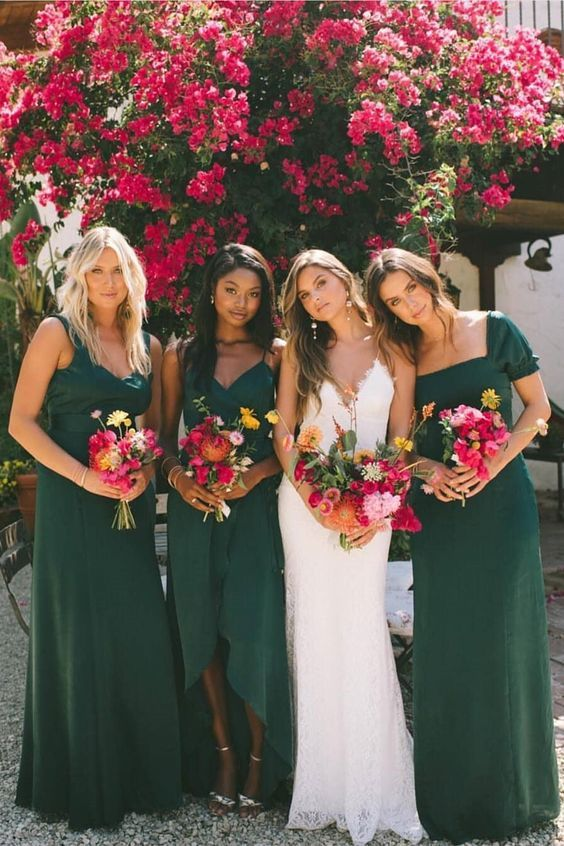 Elegant Sheath Sweetheart Chiffon Dark Green Long Bridesmaid