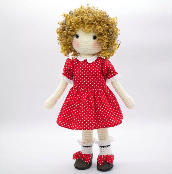 Amigurumi crochet doll Little Orphan Annie in by BubblesAndBongo