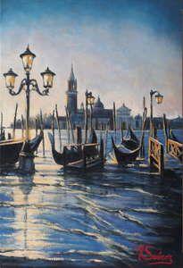 venecia.-amanecer con gondolas